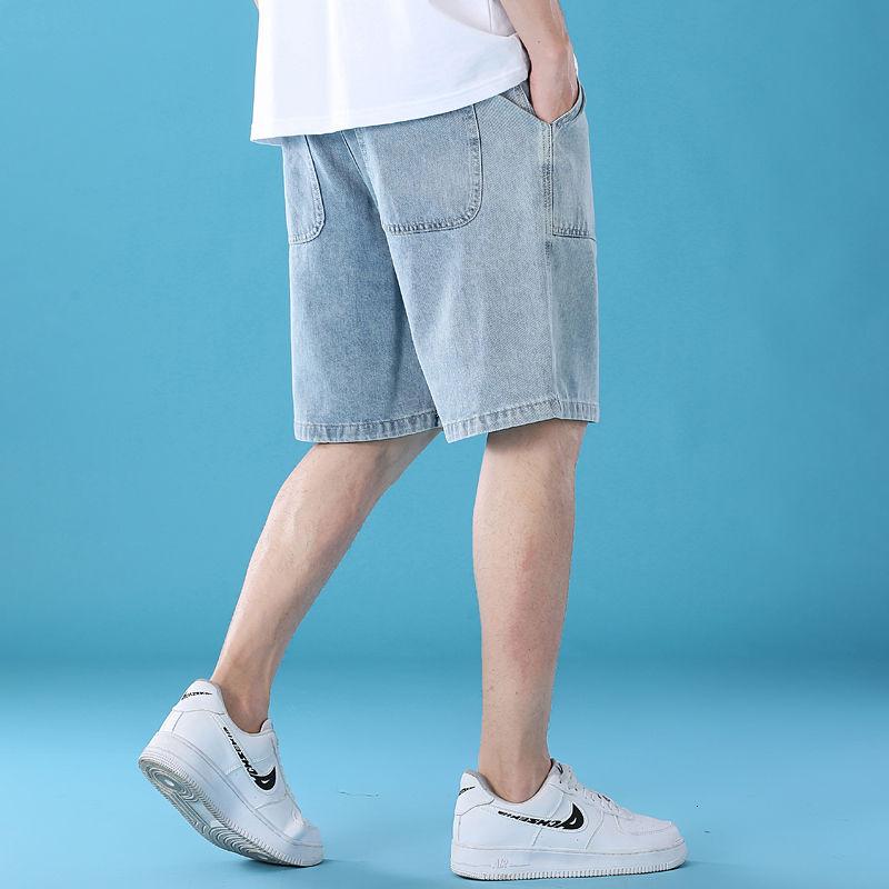 短褲 牛仔短褲 大尺碼短褲 牛仔褲 休閒短褲 工作短褲 寬鬆短褲 休閒潮牌個性牛仔短褲男寬鬆大碼五分褲沙灘海灘褲