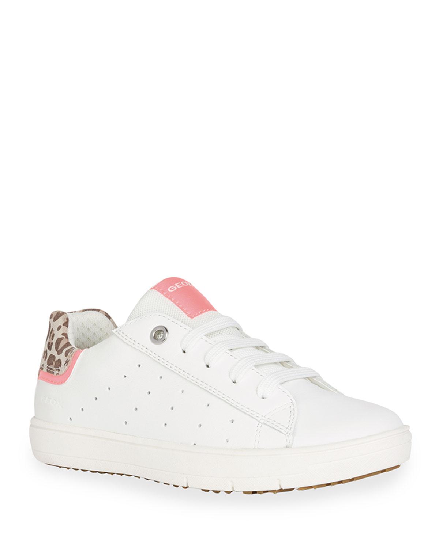 Girl's Silenex Leopard-Print Low-Top Sneakers, Kids