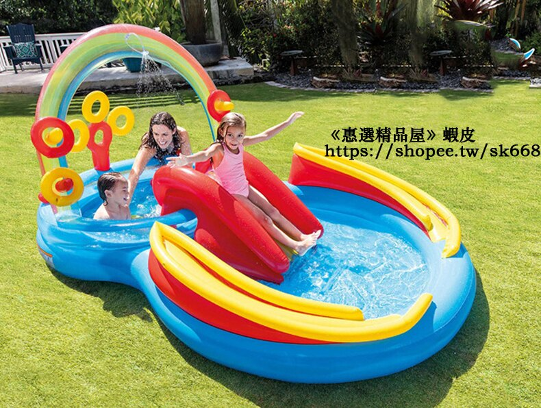 免運 充氣泳池 兒童游泳池 家庭戲水池 嬰幼兒游泳池 氣墊游泳池 彩虹滑梯游泳池 水池 泳池 球池 遊戲池 h5038