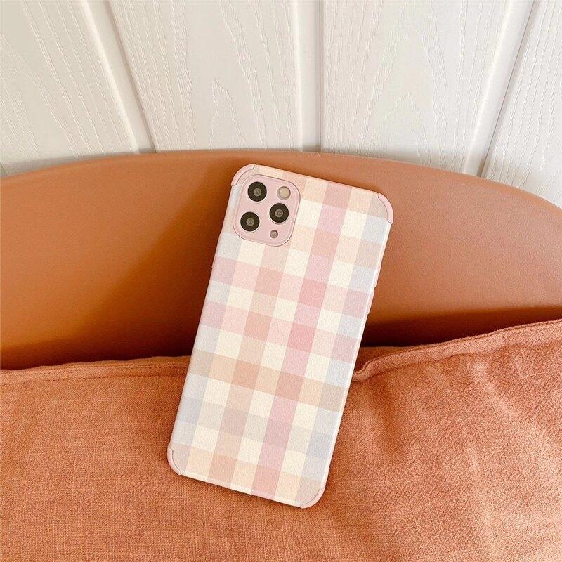 樂天精品 粉系氣質格子 適用 iPhone12Pro 11 Max Mini Xr X Xs 7 8 plus 蘋果手機殼