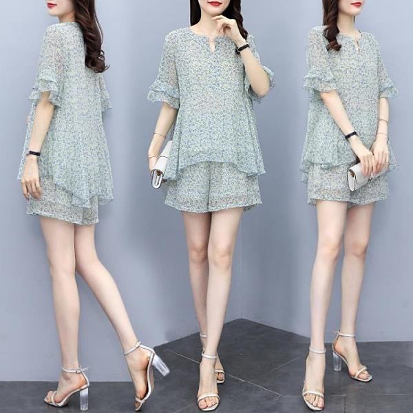 兩件套女短袖褲裝L-4XL大碼女裝印花雪紡短袖上衣時尚顯瘦洋氣兩件套2F088韓衣裳
