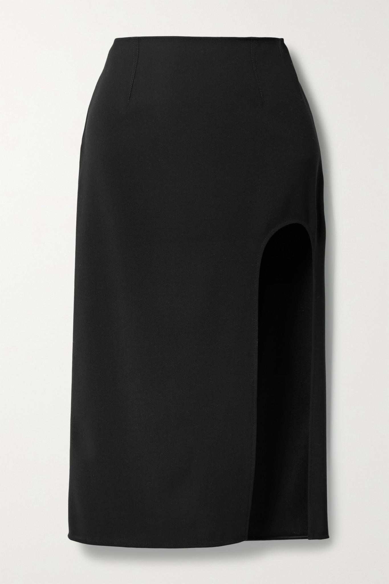 MUGLER - Cutout Wool-twill Skirt - Black - FR36