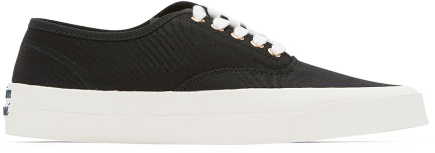 Maison Kitsuné 黑色帆布系带运动鞋