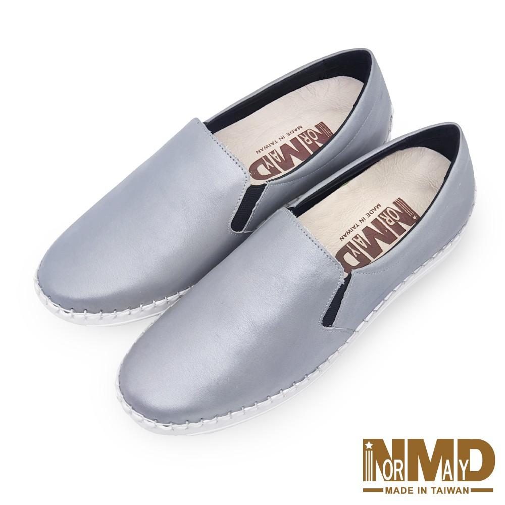 諾曼地Normady 女鞋 休閒鞋 懶人鞋 MIT台灣製 真皮鞋 厚底鞋 增高鞋 氣墊鞋 純色素面磁力球囊鞋(太空銀)