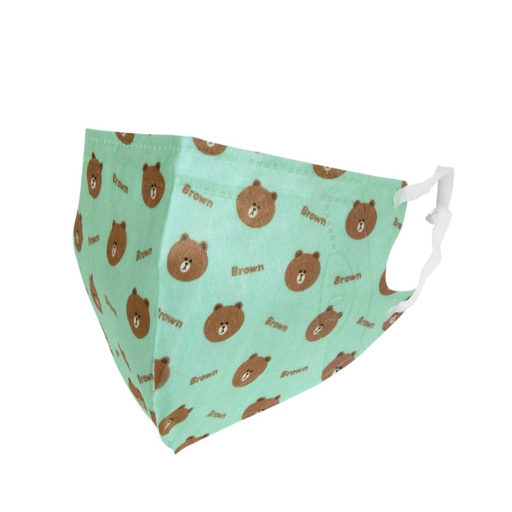 熊大 3D立體口罩-綠L(盒裝25入)