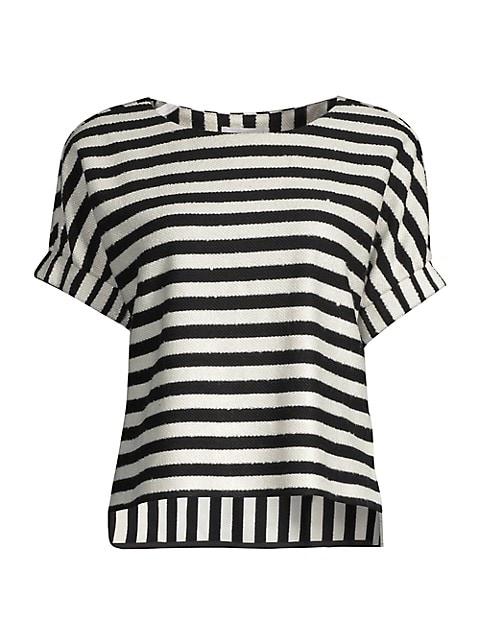 Julie Striped Sequin Top