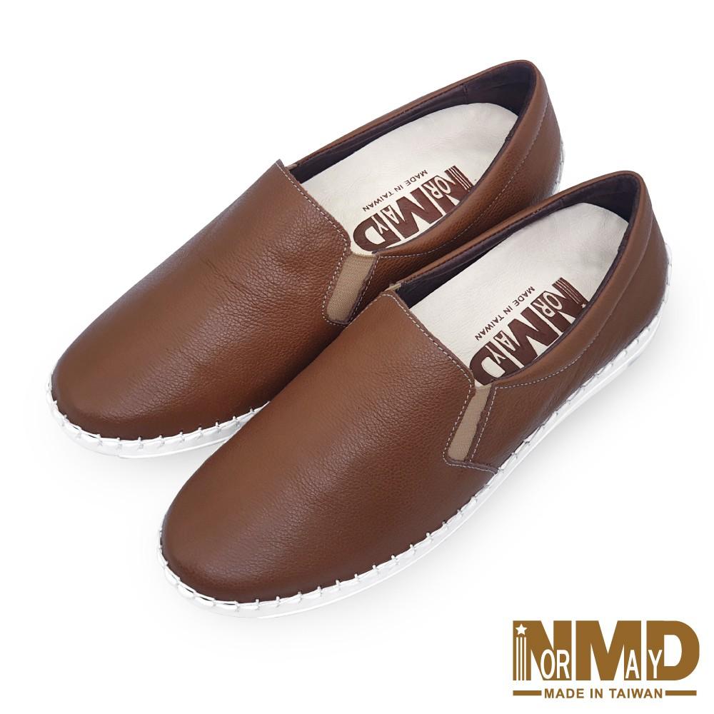 諾曼地Normady 女鞋 休閒鞋 懶人鞋 MIT台灣製 真皮鞋 厚底鞋 增高鞋 氣墊鞋 純色素面磁力球囊鞋(焦焦咖)