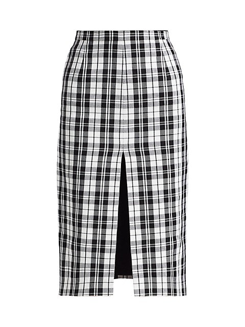 High-Slit Tartan Pencil Skirt