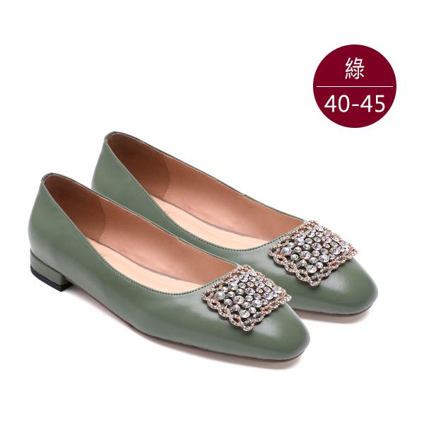 中大尺碼女鞋210506【XC-L-04】真皮水鑽方釦低跟包鞋/娃娃鞋 40-45碼 172巷鞋舖(預購) 綠