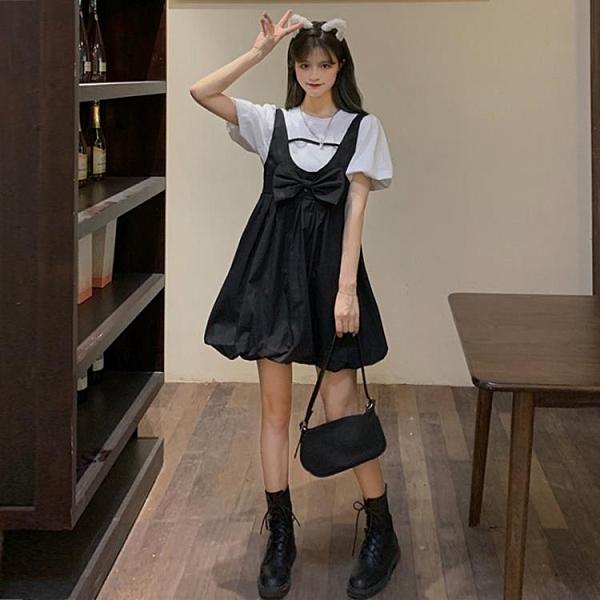 背帶裙 法式甜美蝴蝶結背帶裙連衣裙女夏設計感小眾蓬蓬裙小黑裙減齡裙子 歐歐