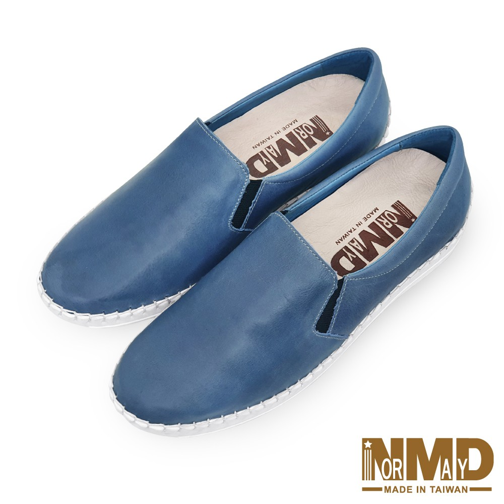 諾曼地Normady 女鞋 休閒鞋 懶人鞋 MIT台灣製 真皮鞋 厚底鞋 增高鞋 氣墊鞋 純色素面磁力球囊鞋(迷霧藍)