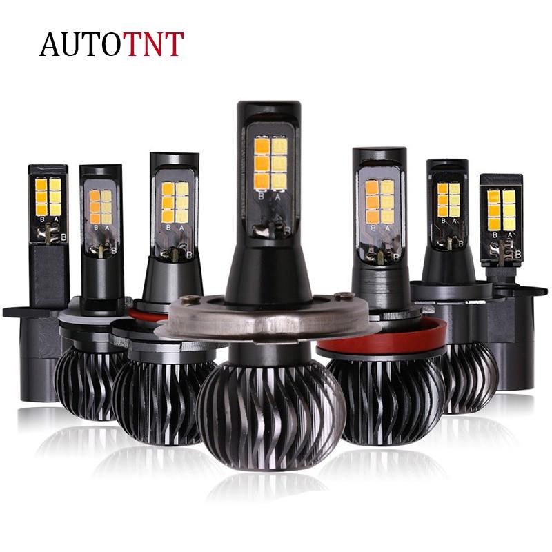 AUTOTNT 汽車LED雙色霧燈 霧燈 燈泡 黃光 白光 H7 H11 H1 H3 9005 9006 HB3 H8