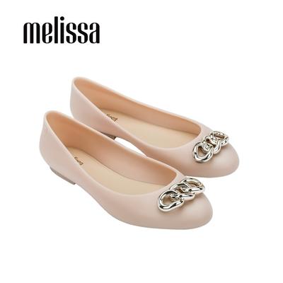 Melissa DOLL光澤鍊條裝飾娃娃鞋-粉