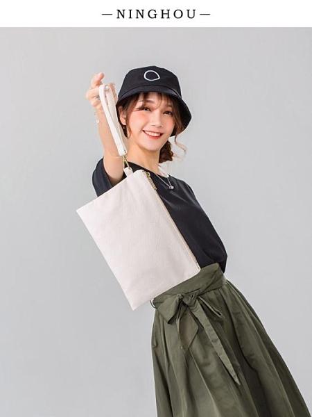 手拿包收納包包凝猴帆布手拿小包手拎簡約信封包女手包布藝布包手抓包 衣間