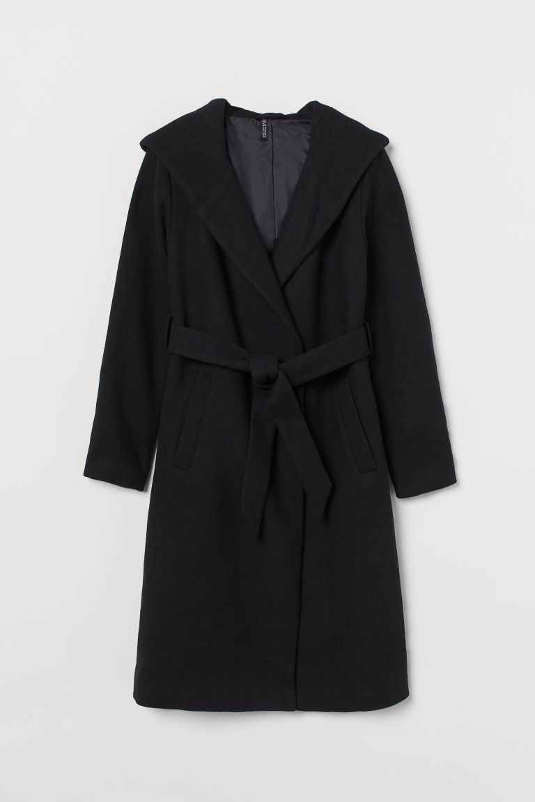 H & M - 連帽大衣 - 黑色
