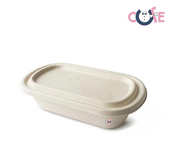 【嚴選SHOP】10入 甘蔗餐盒 2分格橢圓餐盒+蓋 環保餐盒 外帶餐盒健康餐盒【C144】
