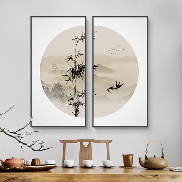 新中式裝飾畫玄關山水畫客廳掛畫沙發背景墻茶室書房禪意水墨壁畫