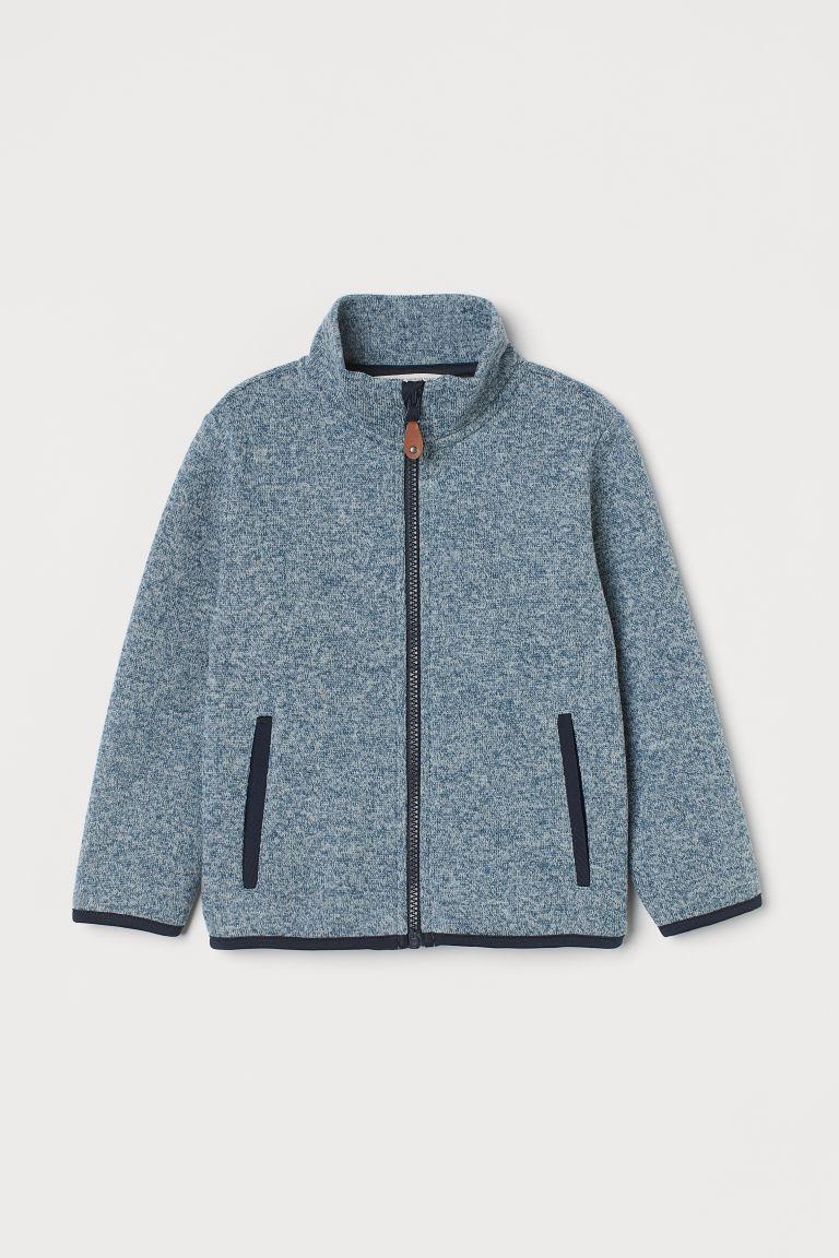 H & M - 絨毛針織外套 - 藍色