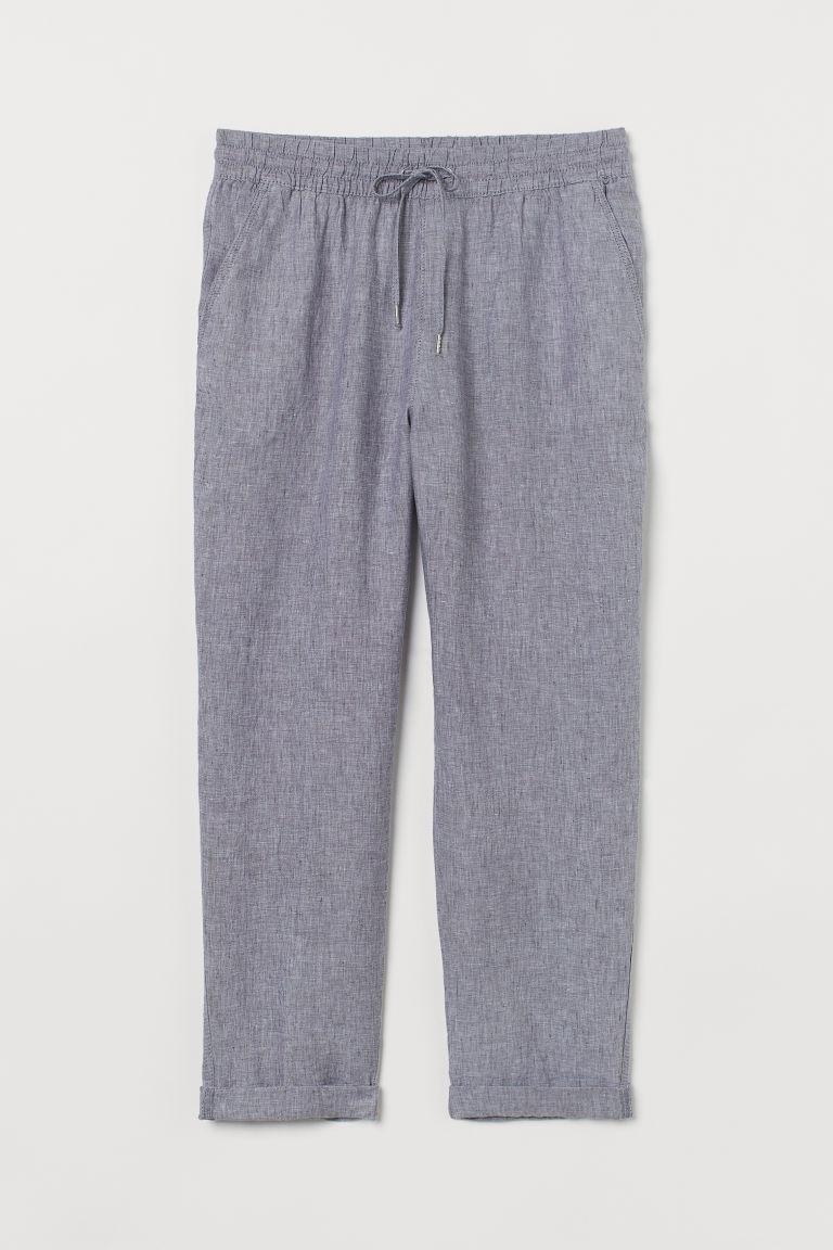 H & M - 亞麻慢跑褲 - 灰色