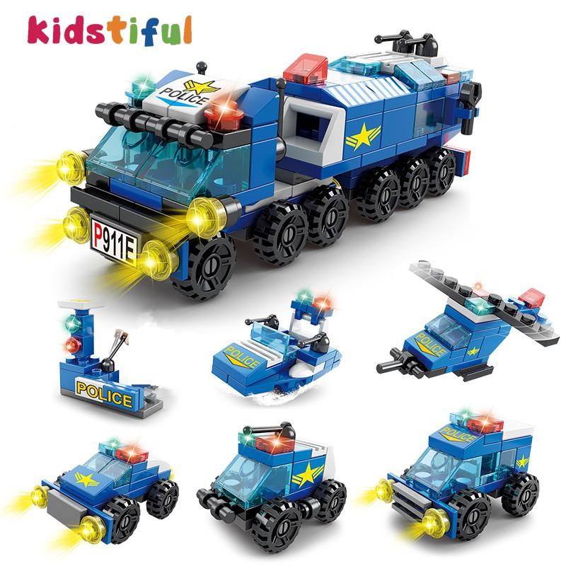 積木玩具兼容樂高積木兒童積木玩具特警工程消防空軍拼裝積木6合1套裝兒童男孩益智玩具