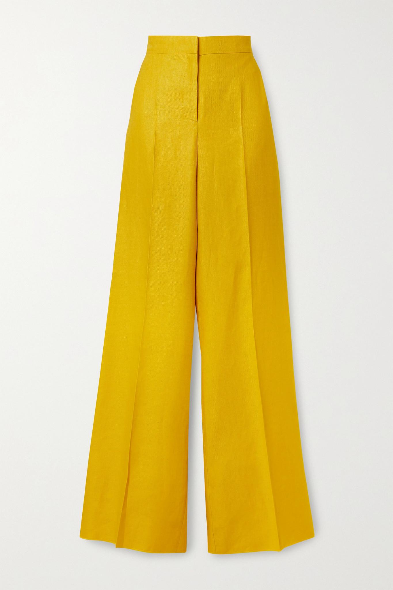 MAX MARA - Ginosa Linen-twill Wide-leg Pants - Yellow - UK6