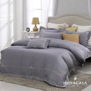 【HOYACASA個性灰】加大300織刺繡兩用被床包組