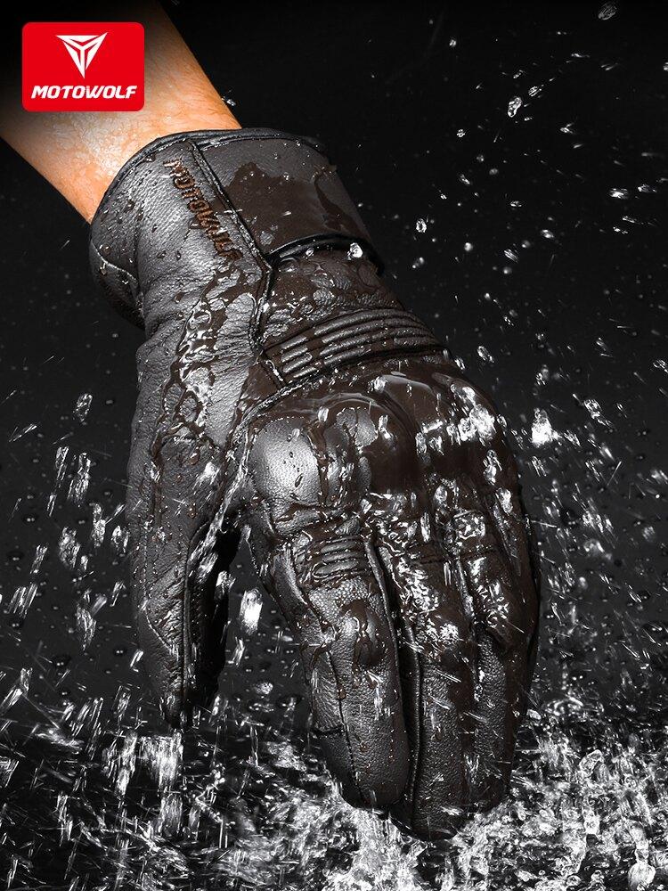 【免運】冬季摩托騎行真皮手套機車復古防摔防水抗寒保暖男女騎士裝備觸碰