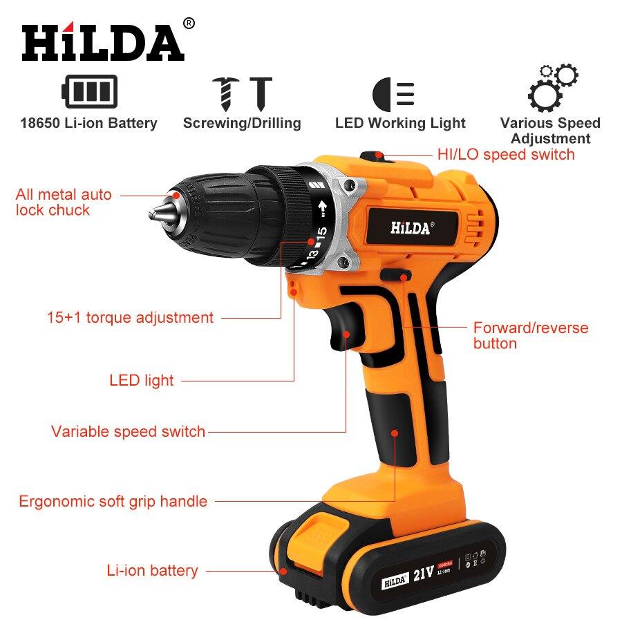 希爾達21v無繩螺絲刀電鉆充電鋰電池防水手電鉆家用電鉆沖擊鉆 新店開張全館五折