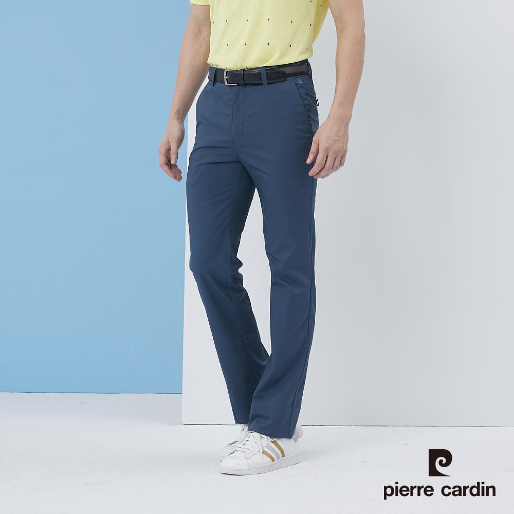 【pierre cardin 皮爾卡登】 男裝彈性平口合身休閒長褲-灰藍色 (5217875-37)