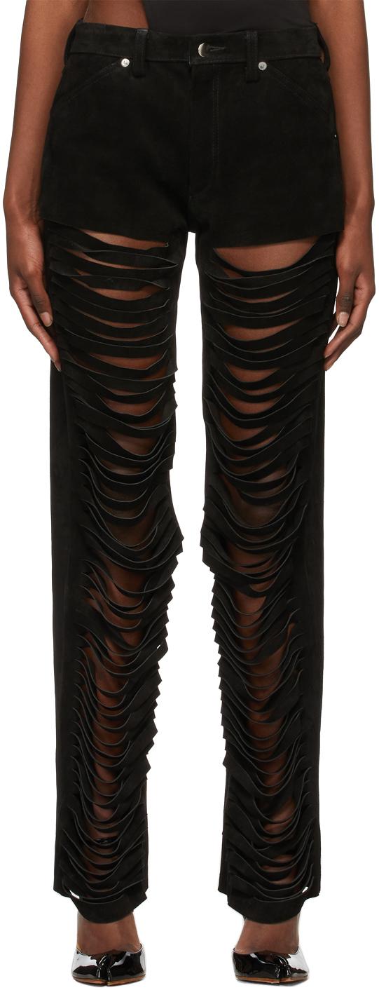 Maximilian 黑色 Slash 绒面革长裤