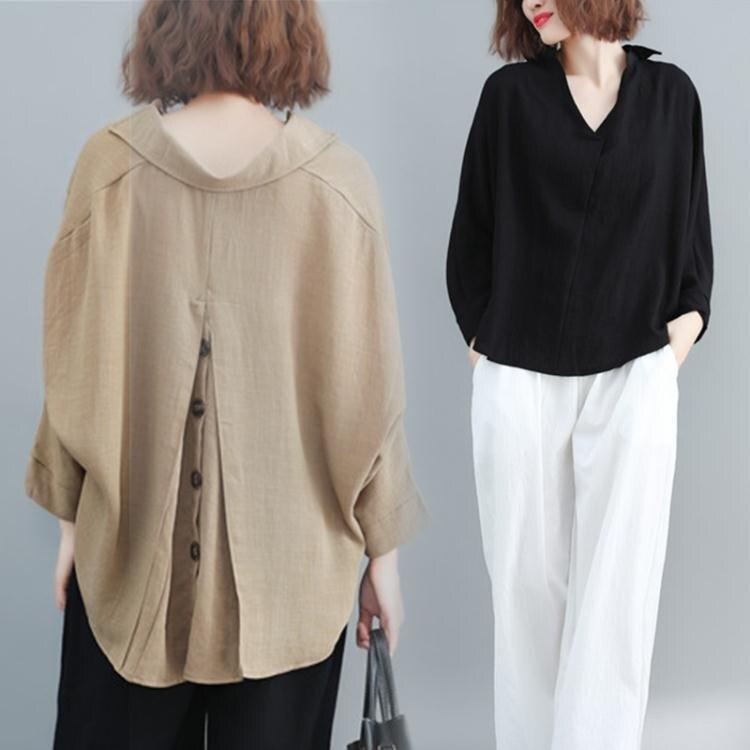 樂天優選 大碼女裝2021年新款春款高端襯衣女胖人洋氣遮肚寬鬆棉麻上衣襯衫