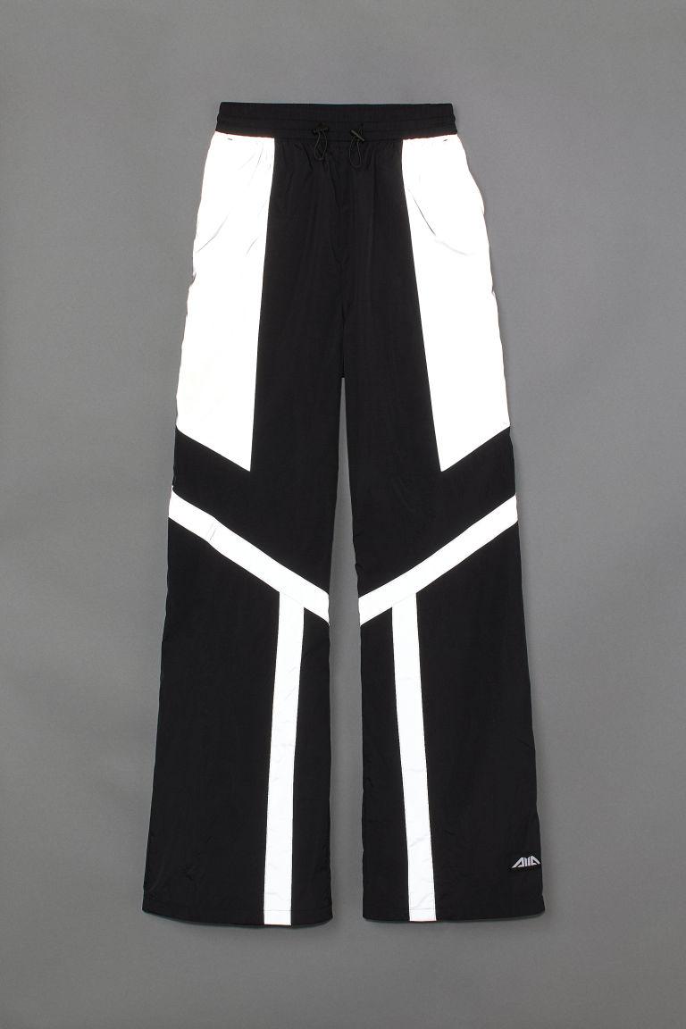 H & M - 反光長褲 - 黑色