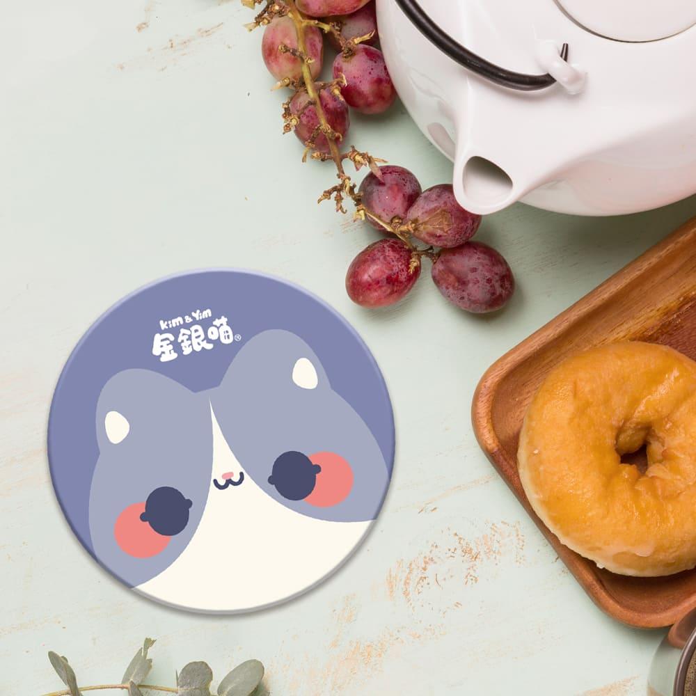 【Kim&Yim金銀喵】貓咪大頭吸水杯墊·Q寶款(紫)