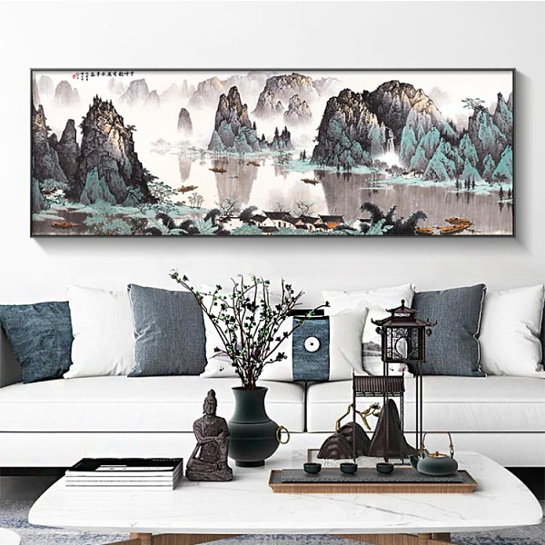 新中式國畫山水畫風水靠山招財客廳裝飾畫橫版壁畫辦公室水墨掛畫