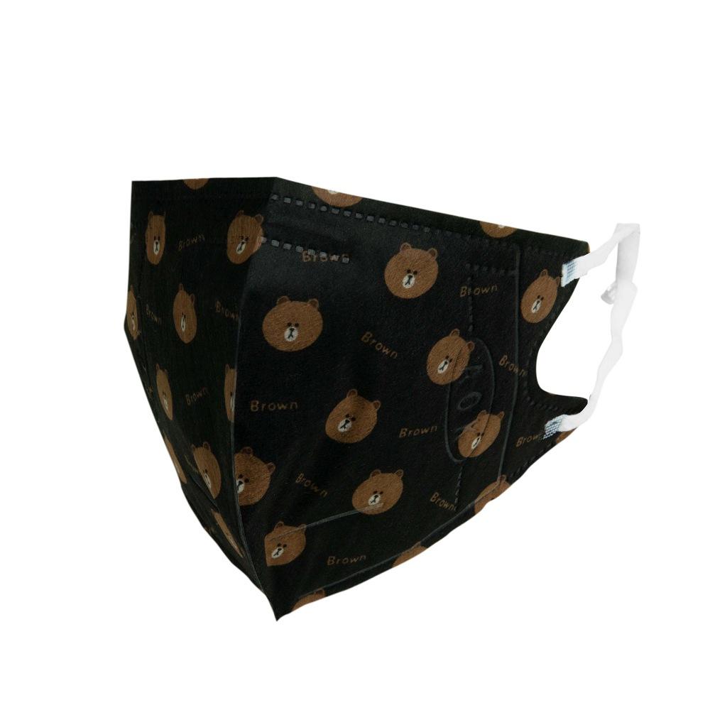 熊大 3D立體口罩-黑L(盒裝25入)