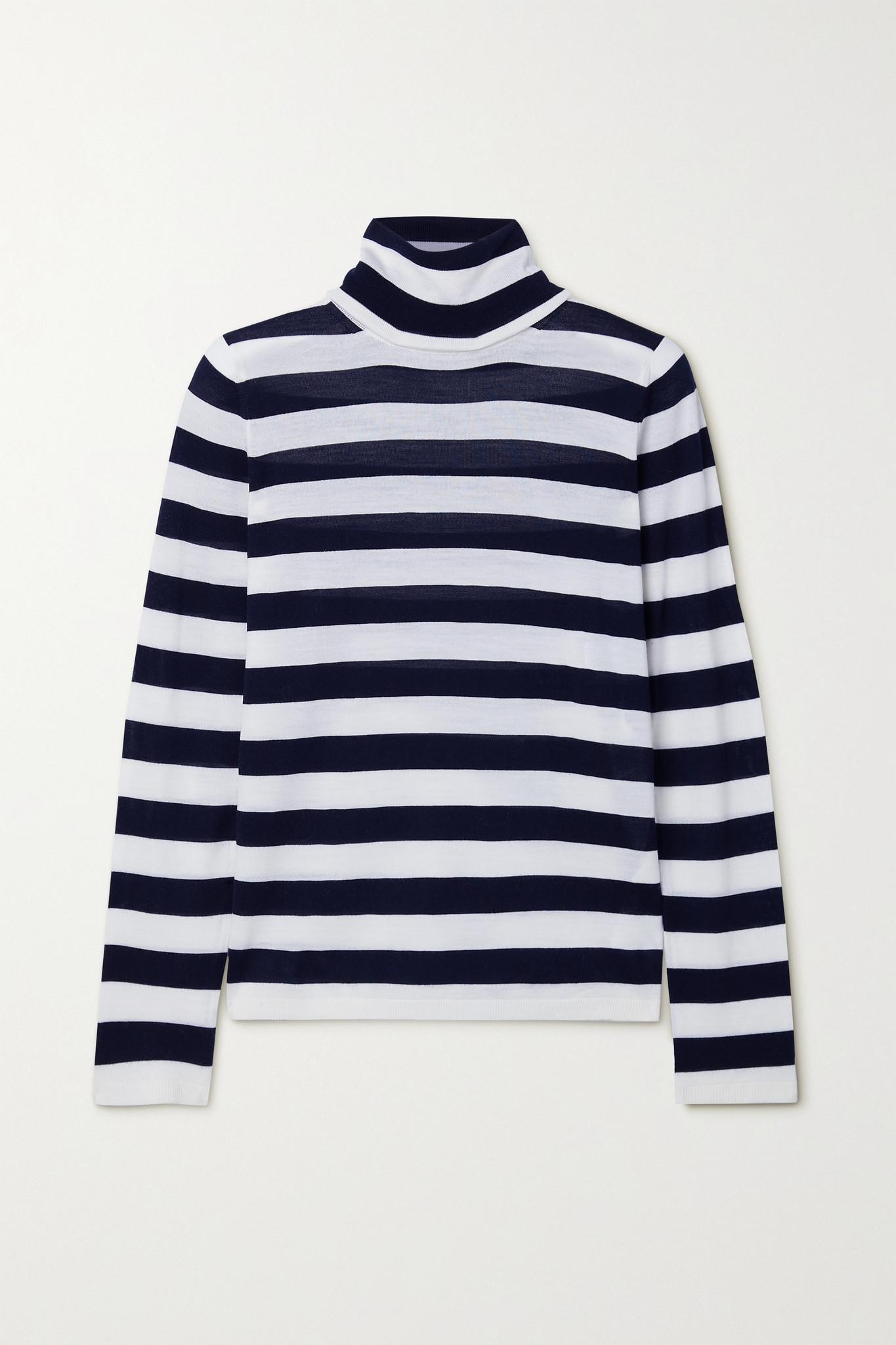 MAX MARA - Adelio Striped Wool Turtleneck Sweater - Blue - large
