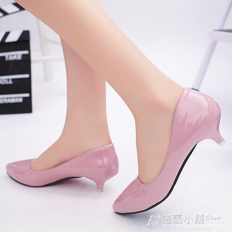 「樂天優選」小跟3公分高跟鞋女細跟春季3cm漆皮低跟工作鞋淺口尖頭瓢鞋單鞋