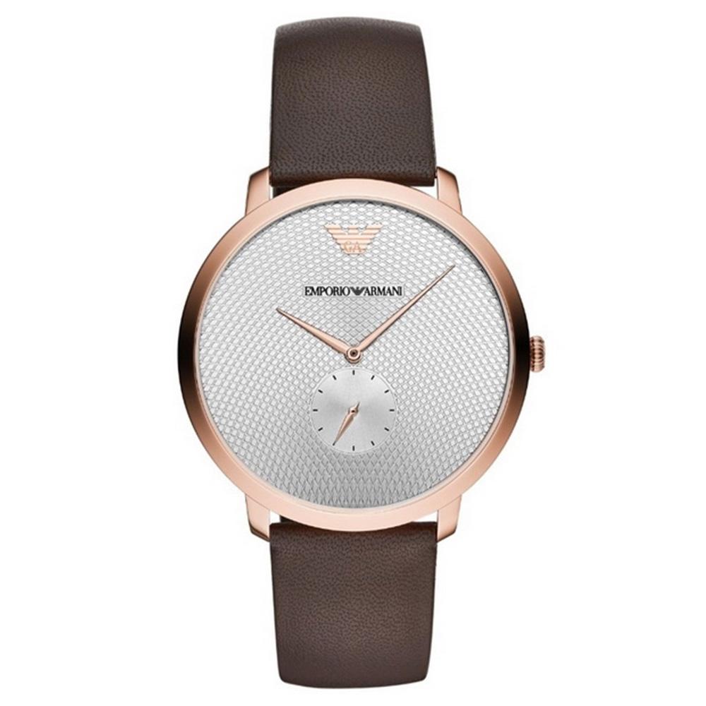 【Emporio Armani】亞曼尼 AR11163 義式品味 波狀交錯格紋時尚腕錶 皮帶 玫瑰金 42mm