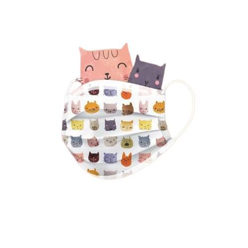 聚泰 成人醫療平面印花口罩(未滅菌)(10入/盒裝)-貓掌1(買就送酒精濕紙巾,送完為止)
