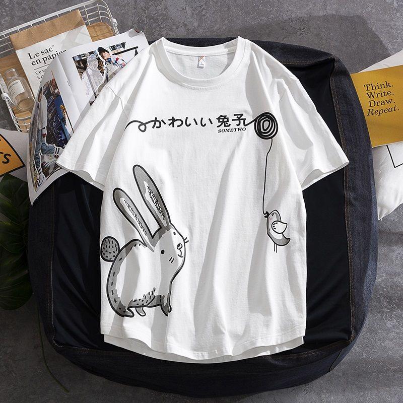 短袖 T恤 短袖上衣 夏天T恤 素t T恤男裝夏季新款短袖卡通大碼男士半袖衫純棉情侶款上衣服休閑潮
