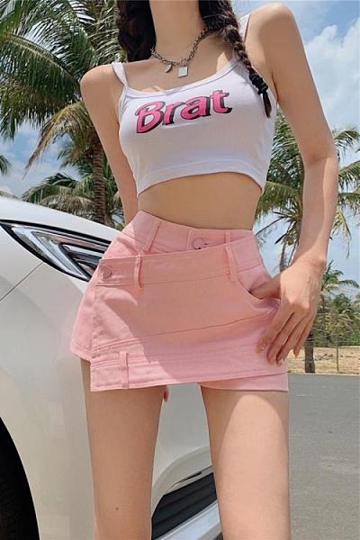 牛仔短褲女 夏季 高腰 薄款 不規則 熱褲 寬鬆 辣妹 顯瘦 粉色 百搭 直筒褲子