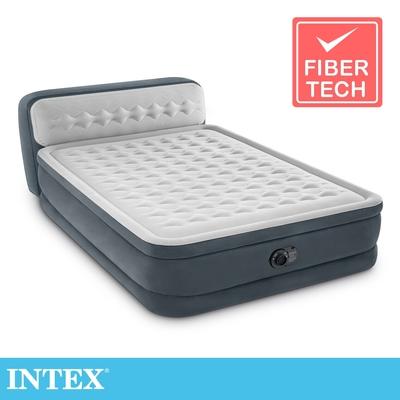 【INTEX】豪華菱紋內建電動幫浦(fiber-tech)雙人加大充氣床-床頭檔片設計(64447)