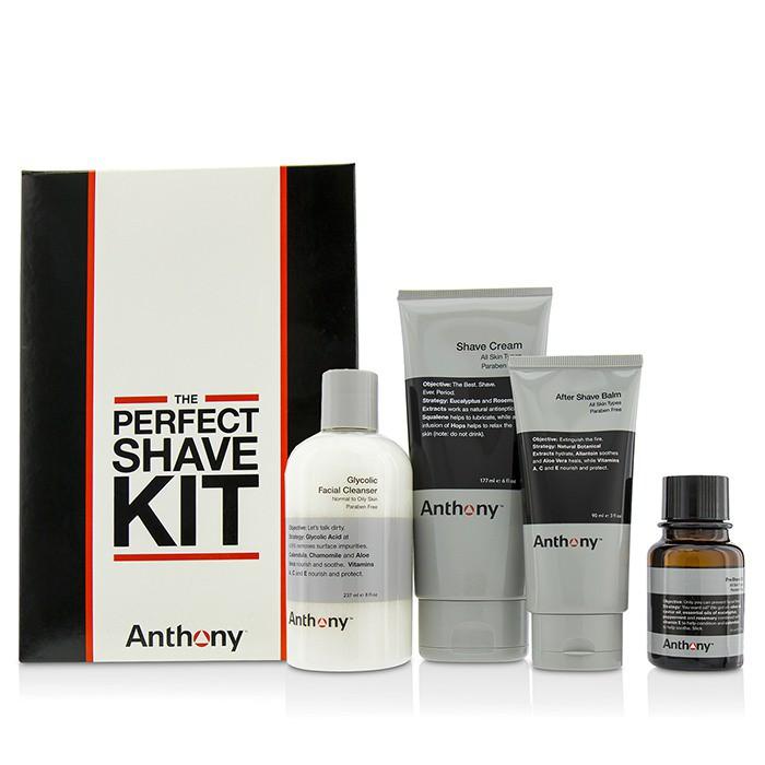 安東尼 - 完美剃鬚組合: 洗面乳+ 鬚前油+刮鬍膏+ 鬚後舒緩霜