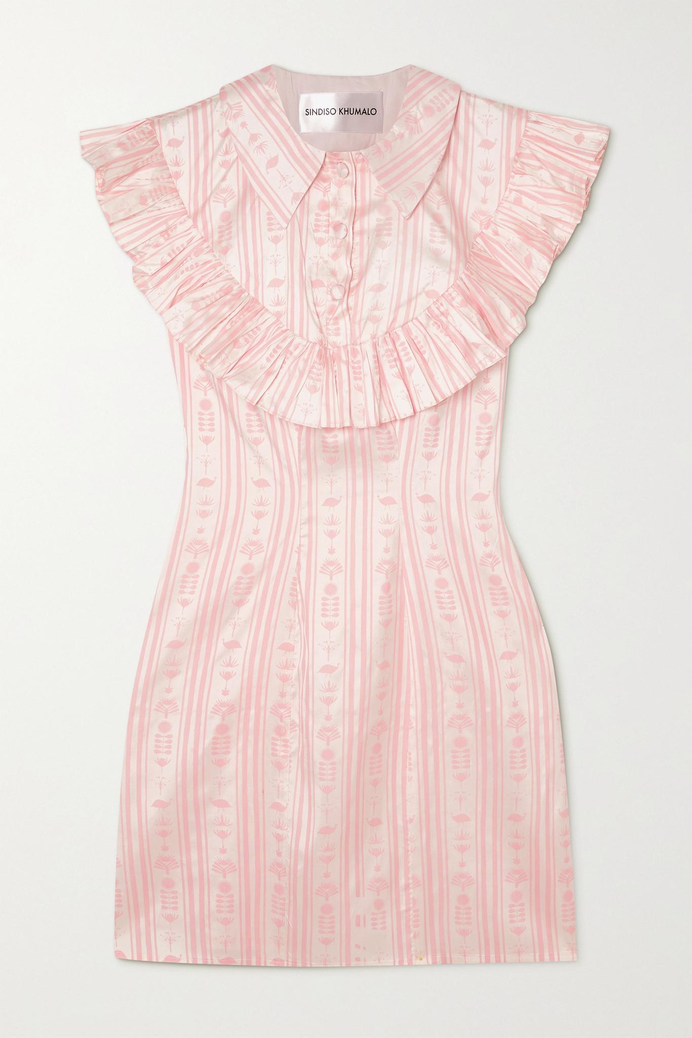 SINDISO KHUMALO - + Net Sustain Ruffled Printed Silk Mini Dress - Pink - UK10