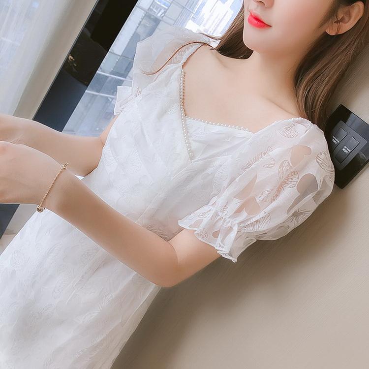 VIVILIAN法式氣質優雅浪漫蝴蝶結泡泡袖顯瘦魚尾裙
