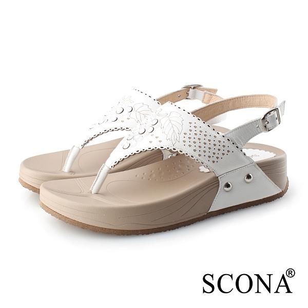 SCONA 蘇格南 全真皮 雷射樂活夾腳涼鞋 白色 31099-1