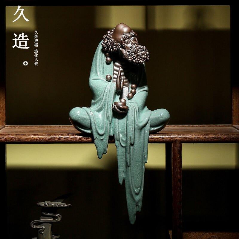 久造 陶瓷達摩擺件人物中式禪意 客廳辦公室博古架佛像擺設裝飾品