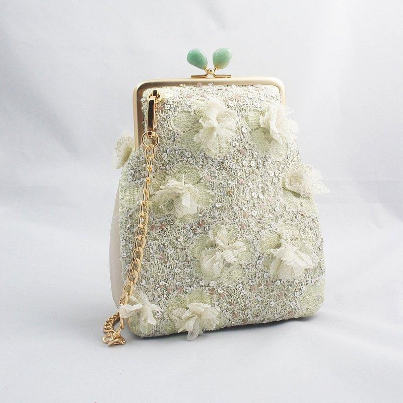 【蕾絲系列】綠水晶花園口金包