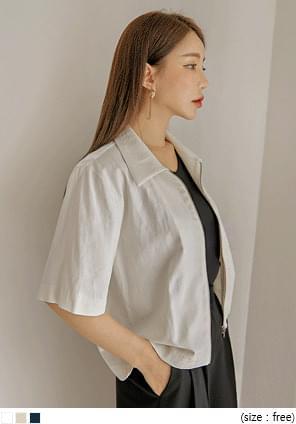 韓國空運 - 混亞麻拉鍊短袖外套 拉鍊外套