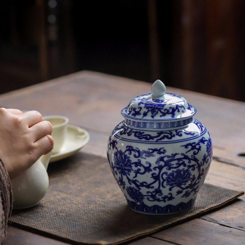陶瓷器古典青花瓷帶蓋擺件客廳玄關擺設瓷儲物罐瓷器花瓶